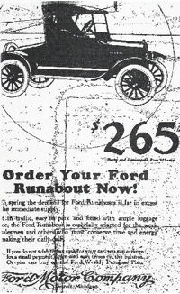Ford Runabout 1920 add