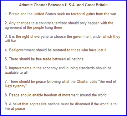 Atlantic Charter Between United States and Great Britain 1941