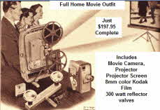 Full home movie outfit includes camera, projector, screen, and 8mm film