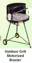 Outdoor Grill with built in motorized brazier