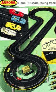 Aurora 4 Lane HO Scale  Racing Track