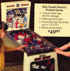 Star Quest Electric Pinball  From The 1970s
