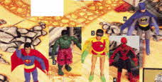 Superhero Figures, The Hulk, Spiderman, Batman, Robin and Superman From The 1970s