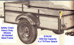 2 wheel auto trailer, Steel Construction, safety chain, 7 x 4 ft
