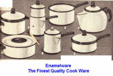 Enamelware Cook Ware Description and Prices Shown Below