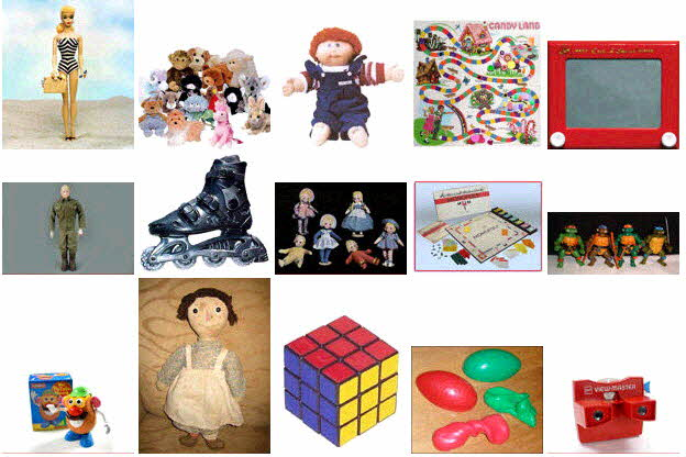 Others shown here and featured on other pages include Barbie, Beanie Babies, Cabbage Patch Doll, Candyland, Etch A Sketch, GI Joe, Inline Skates, Madam Alexander, Early Monopoly, Ninja Turtles, Mr Potatoe Head, Raggedy Ann, Rubiks Cube, Silly Putty and a view master