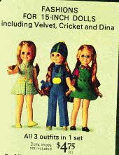 Velvet, Cricket and Dina Fashion wardrobe From the 1970s