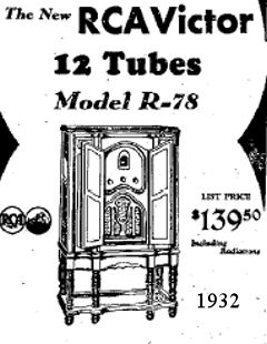 1932 The new RCA Victor Radio 12 tubes / valves just $139.00