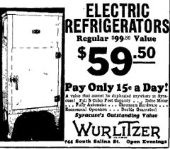 1933 fridge $59.50 or 15 cents per day