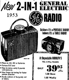 The Latest In Radio 1953 Portable and Electric just $39.00
