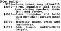 examples of houses for sale in 1921