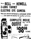 10th June  1961 Bell and Howell complete movie outfit including 3 lens turret electric eye camera $98.00