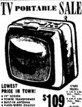 10th June  1961 19 inch Portable TV Sale from $109.00