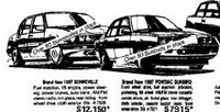 11th June  1987  Pontiac Bonneville $12,160, and Pontiac Sunbird $7,915