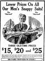 1921 Men's suits ranging in price from $15 to $25