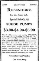 1924 Suede pumps ranging from $3.90 to $5.90