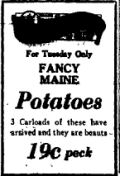 3rd June  1928 Potatoes for 19 cents a peck
