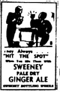 1937 An ad for Sweeney brand Ginger Ale