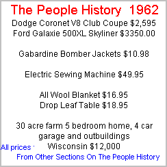 More Prices From 1962 Taken From Cars, Food, Clothes, Homes, Elecrical Sections Of The People History