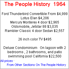 More Prices From 1964 Taken From Cars, Food, Clothes, Homes, Elecrical Sections Of The People History